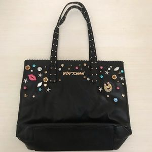 Jeweled black Betsey Johnson tote bag